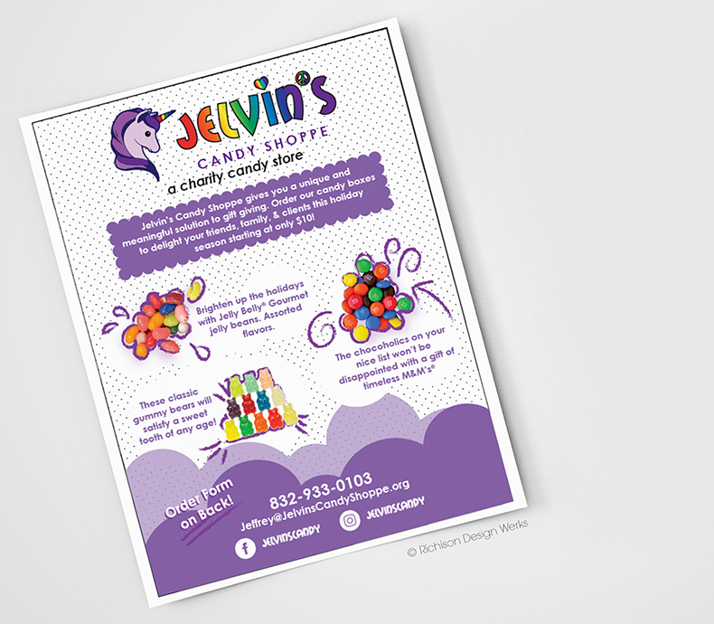 Flyer Design for Jelvins Candy Shoppe